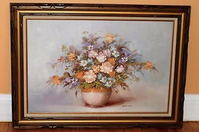 """Large Robert Cox signed oil painting on canvas Flowers in Vase 43"""" x 32"""" Framed"""