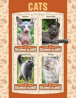 Z08 Imperforated SLM16103a SOLOMON ISLANDS 2016 Cats MNH