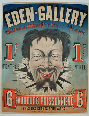 AFFICHE SPECTACLE PARIS Originale c.1870  EDEN GALLERY Cabaret Spectacle comique