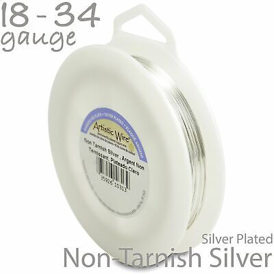 Silver Tarnish-Resistant Silver Plated Artistic Craft Wire - 1/4lb Spool