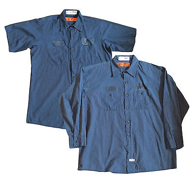 Red Kap Men's Durastripe Short Long Sleeve Work Shirts SPNL Navy / Light Blue