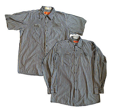 Red Kap Men's Industrial Stripe Work Shirt Khaki/ Navy Blue Short Long Sleeve KN
