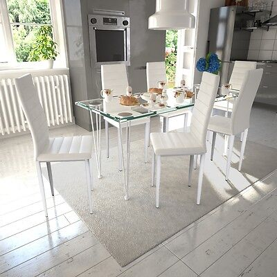 New 6 pcs White Slim Line Dining Chair 42 x 51 x 98 cm Artificial Leather