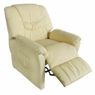 New Electric Artificial Leather Massage Chair Cream 90 x 82 x 104 Remote Control