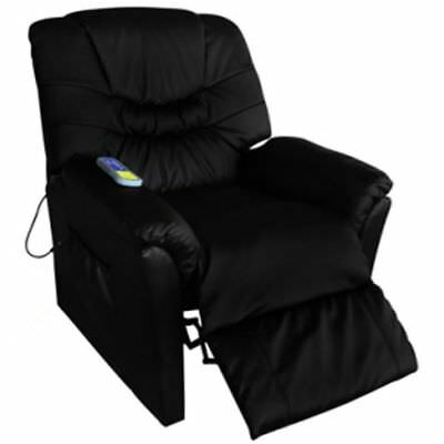 New Electric Artificial Leather Massage Chair Black 90 x 82 x 104 Remote Control