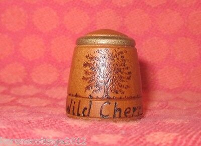 Etched Wild Cherry Wood Thimble - Detailed & Interesting