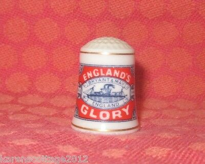 Franklin's 1982 Bone China Thimble - Bryant & May 'england's Glory' Matches