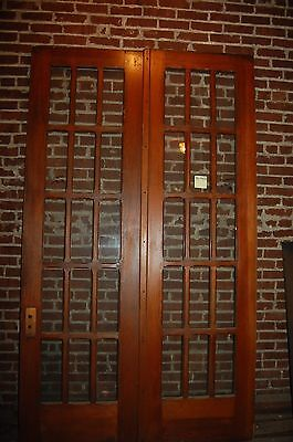 Pair Antique 8' Tall Pine 15 Lite French Door Set  Arts/craft  Old House Salvage