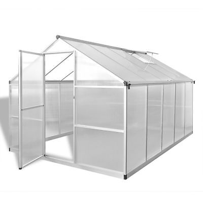 New Reinforced Aluminium Greenhouse with Base Frame 7.55 m2 Polycarbonate Panels