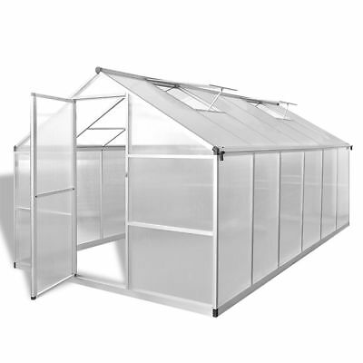New Reinforced Aluminium Greenhouse with Base Frame 9.025 m2 Polycarbonate