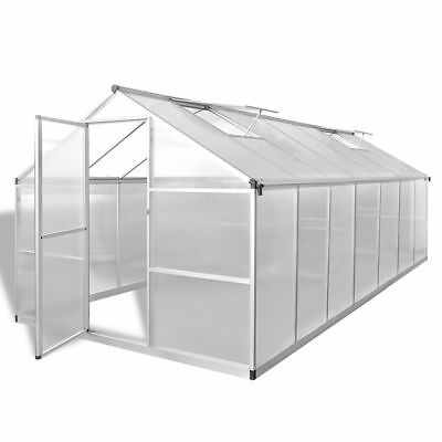 New Reinforced Aluminium Greenhouse with Base Frame 10.525 m2 Polycarbonate