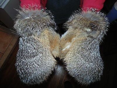 New Real American Fox Fur Gloves Mittens Soft and Furry