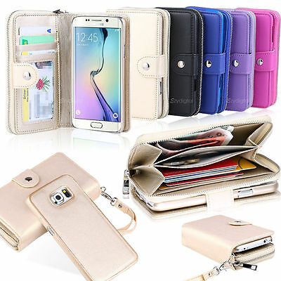Leather Wallet Card Slot Zipper Case Cover For Samsung Galaxy S5 S6 Edge Note 5