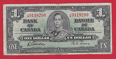 Prefix JM 9118299 Bank of Canada 1937 $1 Note Gordon Towers      $16.95