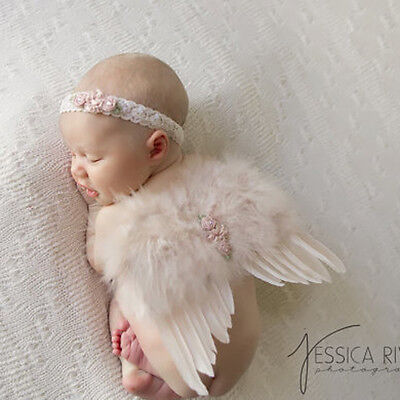 Newborn Baby Girl Feather Angel Wings Matching Flower Headband Photograph Props