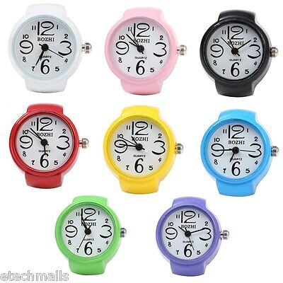 Candy Color Finger Watch with Round Quartz Dial Stretchy Alloy Watchband