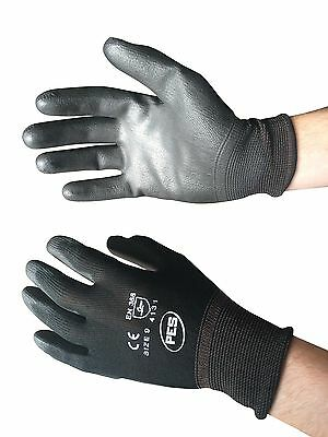 TEKNI Nylon PU Palm Coated Glove, Builder Gardening Mechanic 12 Pair, Black 4121