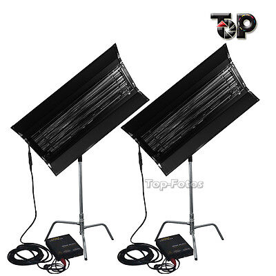 As Kinoflo 2Kit 300W 4FT 4Bank Fluorescent Light+Ballast +C-Stand With Egg Crate