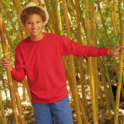 Fruit of The Loom Childrens Kids Long Sleeve Crewneck T Shirt  - 61007