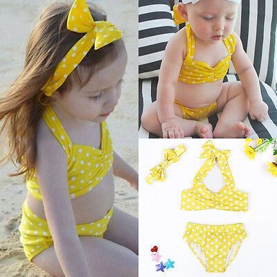 Kids Baby Girl Bikini Suit Swimwear Swimsuit Polka Dots Bowknot Bathing Swimming