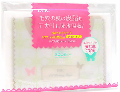 DHC Japan Natural Makeup Oil Blotting Paper (200 sheets) BIG with Soft Pocket