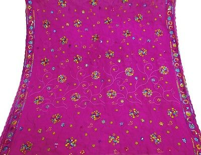Vintage Dupatta Long Indian Scarf Embroidered Fabric Magenta Veil Stole Hijab