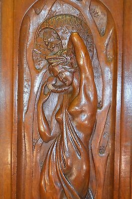 French Antique Greek Revival Panel Door - Nymph Art Nouveau Naked Woman • CAD $373.13