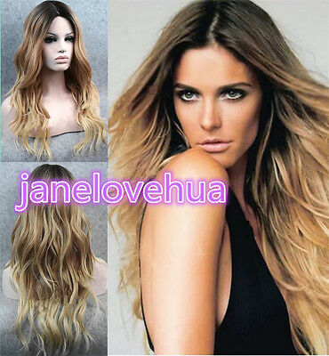 Fashion Ladies Front lace Wigs Curly Long Wavy hair brown mixed Natural Hair Wig