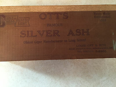 Nice Vintage Ott's Famous Silver Ash Perfectos Wooden Cigar Box Long Island Ny