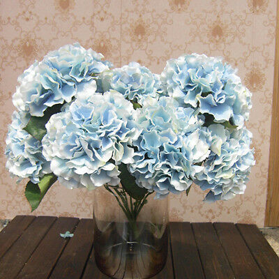 5 Flower Heads Artificial Fake Blue Flower Bunch Home Party Floral Hydrangea