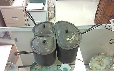 Antique Quick Meal Stove Pot Set Tin W/Copper Bottoms - Rare