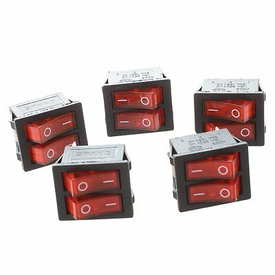 5Pcs x Red Light Double SPST ON/OFF Snap IN Boat Rocker Switch 6 Pin DT