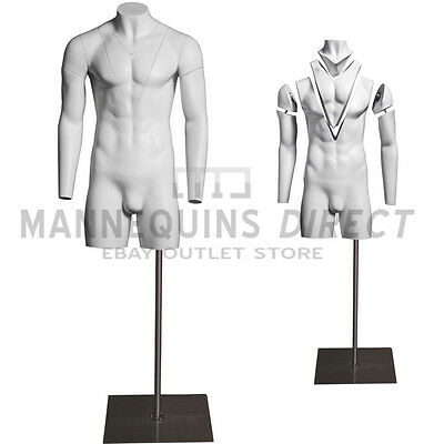 White Fiberglass Male Ghost/ Invisible Torso Mannequin Bust Body Form With Stand