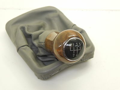 VW Beetle 9C Grey Leather Gear Stick Gaiter and Wooden Knob