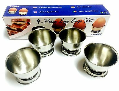 Set Of 4 Traditional Egg Cups Stainless Steel Boiled Egg Cup Tabletop