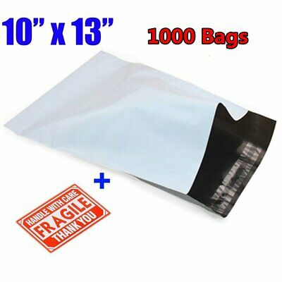 1000 10x13 White Poly Mailers Shipping Envelopes Plastic Self Seal Bags 2.5 Mils