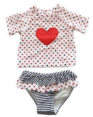 Infant Baby Girls Love Heart Tankini Swimsuits Two Piece Swimwears Swimsuit Set