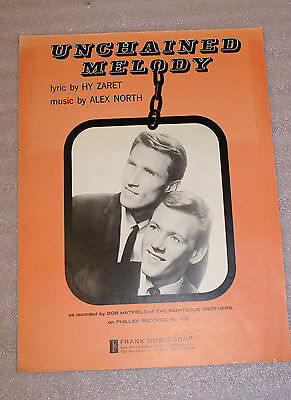 Unchained Melody Alex North Hy Zaret Frank Music Co 1955 Sheet Music