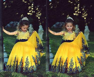 Yellow Flower Girl Dress Princess Kids Pageant Party Dance Wedding Birthday Gown