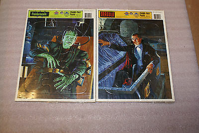 Dracula and Frankenstein Golden Frame Tray Puzzles 4169 AR