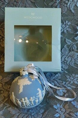Wedgwood Blue Jasperware Christmas Ball Ornament White Relief in Box