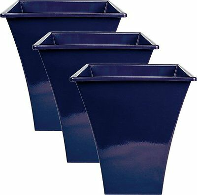 3 x BLUE Large Plant Pots Planters Indoor Outdoor Garden Tall Plastic Planter