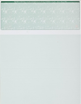 Blank Check Paper Stock - Computer Check On Top GREEN Count 50