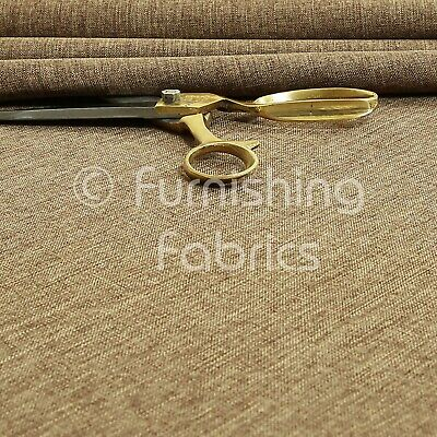 Upholstery Curtain Fabric Quality Plain Soft Linen Woven Look Chenille New Taupe