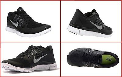 07475f17e4aa Nike Free 5.0 Womens Size Running Shoes Black White Silver Sneakers 580591  002