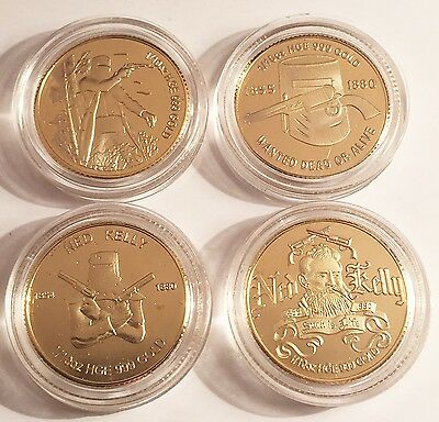"Set of 4 ""Ned Kelly"" 1/10th oz HGE 999 Gold Australian Coins/tokens, Outlaw"