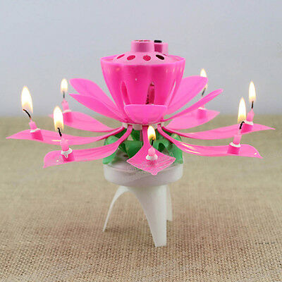 Rotating Magical Flower Musical Birthday Candle Party Decoration Gift Pink New