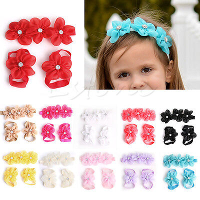 3Pcs/set Baby Kids Barefoot Sandals Shoes Headband Rhinestone Flower Foot Band