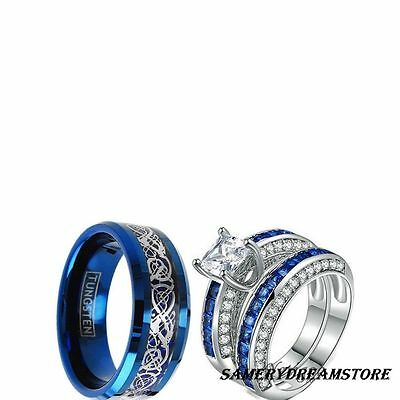 His Tungsten And Her Cz Blue Couples 3 Pcs Engagement Couples Wedding Ring Set