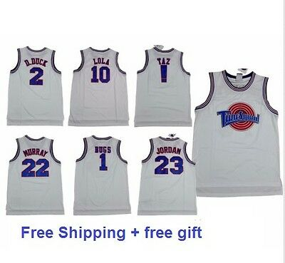 TUNE SQUAD BASKETBALL SPACE JAM JERSEYS ALL SIZE WHITE AND BLACk LOONEY TUNES
